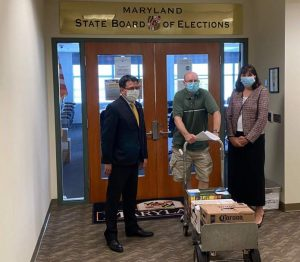 Joe Bishop-Henchman, Bob Johnston, and Jo Jorgensen at petition turn-in at state Board of Elections